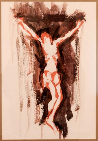 Carlo Tassi, Crocefisso 2005, olio su carta